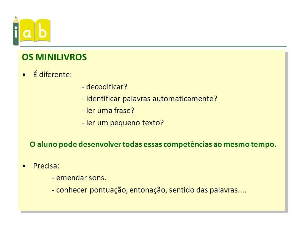 OS MINILIVROS É diferente: - decodificar? - identificar palavras automaticamente? - ler uma frase? - ler um pequeno texto? O aluno pode desenvolver to