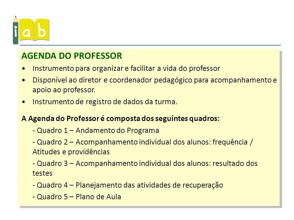Instrumento para organizar e facilitar a vida do professor Disponível ao diretor e coordenador pedagógico para acompanhamento e apoio ao professor. In