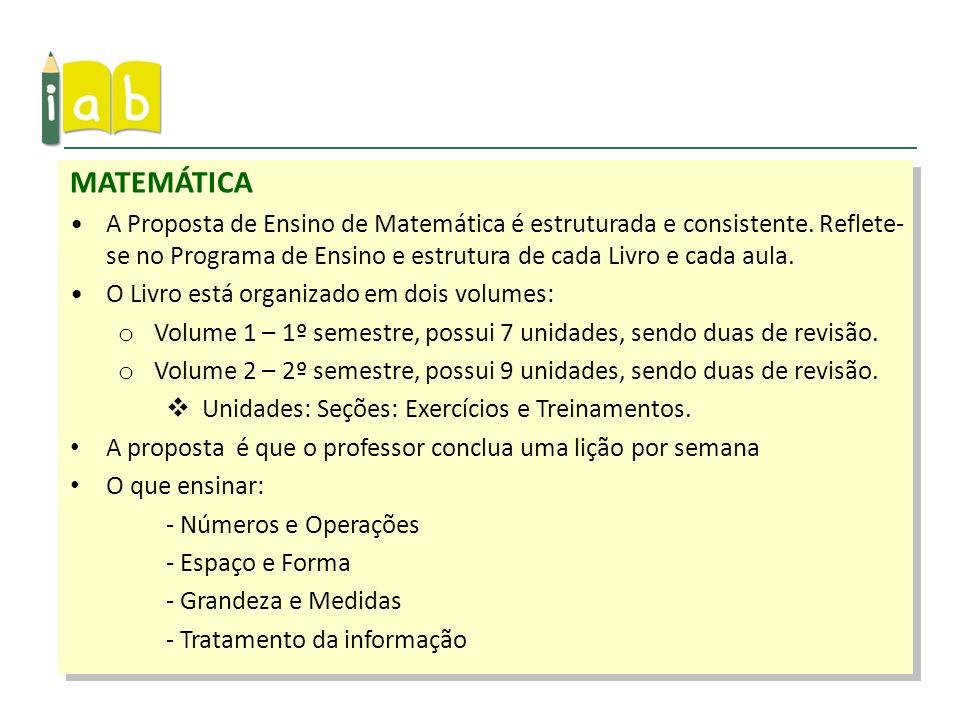 A Proposta de Ensino de Matemática é estruturada e consistente. Reflete- se no Programa de Ensino e estrutura de cada Livro e cada aula. O Livro está