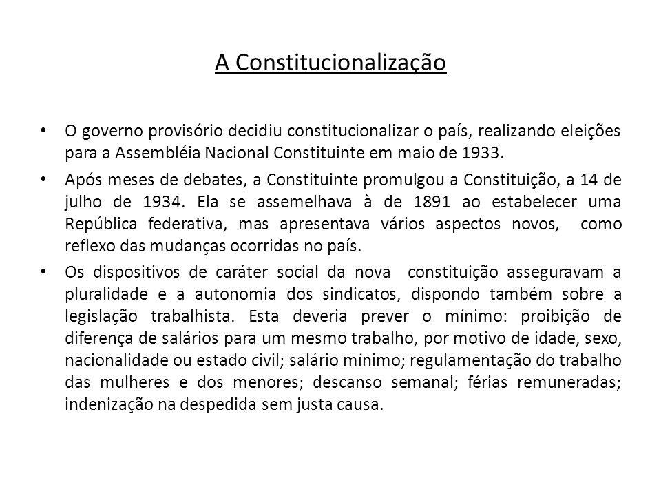 A Constitucionalização O governo provisório decidiu constitucionalizar o país, realizando eleições para a Assembléia Nacional Constituinte em maio de