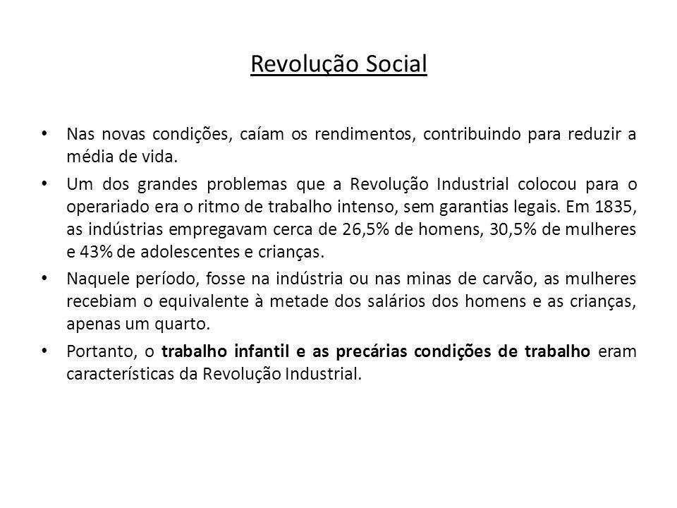 Revolução Social Nas novas condições, caíam os rendimentos, contribuindo para reduzir a média de vida. Um dos grandes problemas que a Revolução Indust