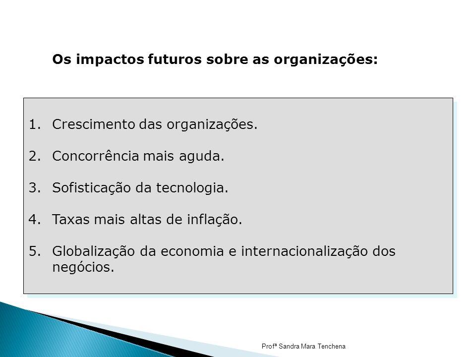 Os impactos futuros sobre as organizações: 1.Crescimento das organizações. 2.Concorrência mais aguda. 3.Sofisticação da tecnologia. 4.Taxas mais altas