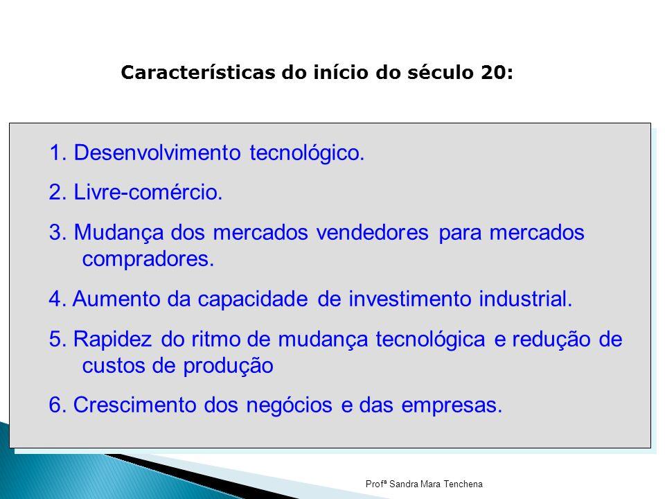 Características do início do século 20: 1. Desenvolvimento tecnológico. 2. Livre-comércio. 3. Mudança dos mercados vendedores para mercados compradore