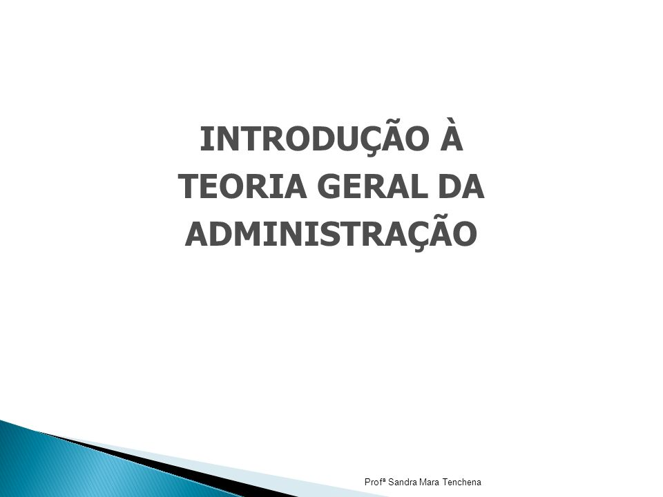 INTRODUÇÃO À TEORIA GERAL DA ADMINISTRAÇÃO Profª Sandra Mara Tenchena