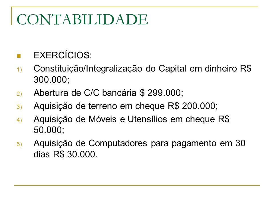 CONTABILIDADE UTILIZAR AS CONTAS: Caixa; Bancos C/C; Móveis e Utensílios; Equipamentos de Informática; Terrenos; Contas a Pagar; Capital.