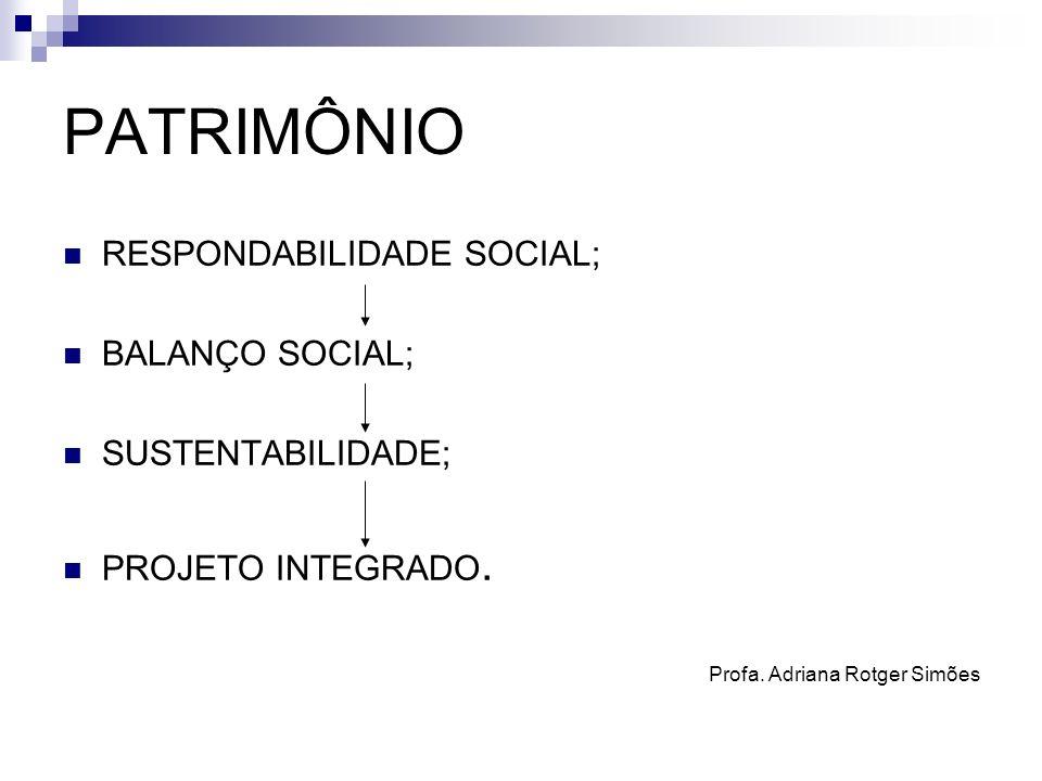 PATRIMÔNIO RESPONDABILIDADE SOCIAL; BALANÇO SOCIAL; SUSTENTABILIDADE; PROJETO INTEGRADO. Profa. Adriana Rotger Simões