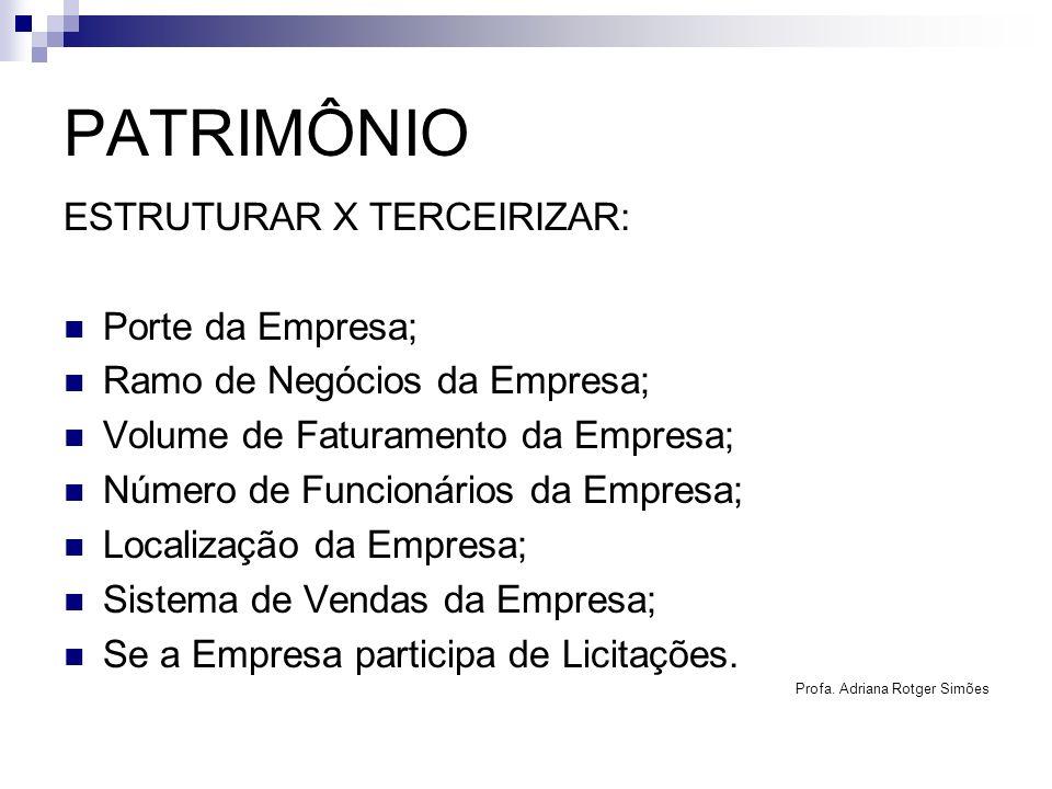 PATRIMÔNIO ESTRUTURAR X TERCEIRIZAR: Porte da Empresa; Ramo de Negócios da Empresa; Volume de Faturamento da Empresa; Número de Funcionários da Empres