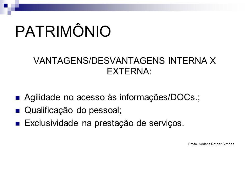 PATRIMÔNIO VANTAGENS/DESVANTAGENS INTERNA X EXTERNA: Agilidade no acesso às informações/DOCs.; Qualificação do pessoal; Exclusividade na prestação de