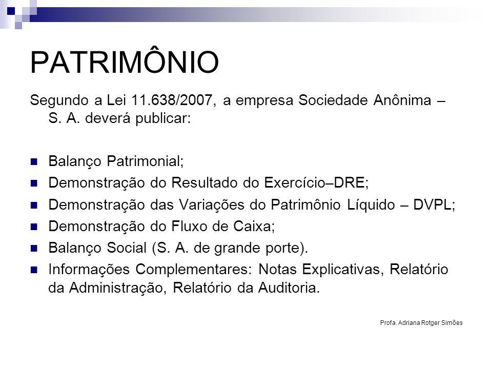 PATRIMÔNIO Segundo a Lei 11.638/2007, a empresa Sociedade Anônima – S. A. deverá publicar: Balanço Patrimonial; Demonstração do Resultado do Exercício