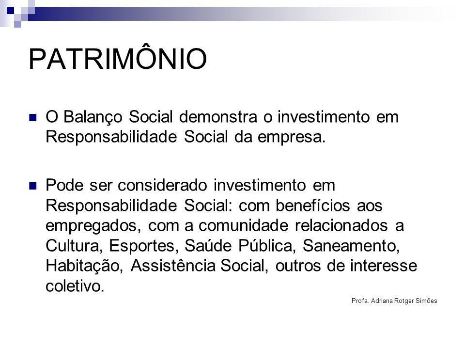 PATRIMÔNIO O Balanço Social demonstra o investimento em Responsabilidade Social da empresa. Pode ser considerado investimento em Responsabilidade Soci