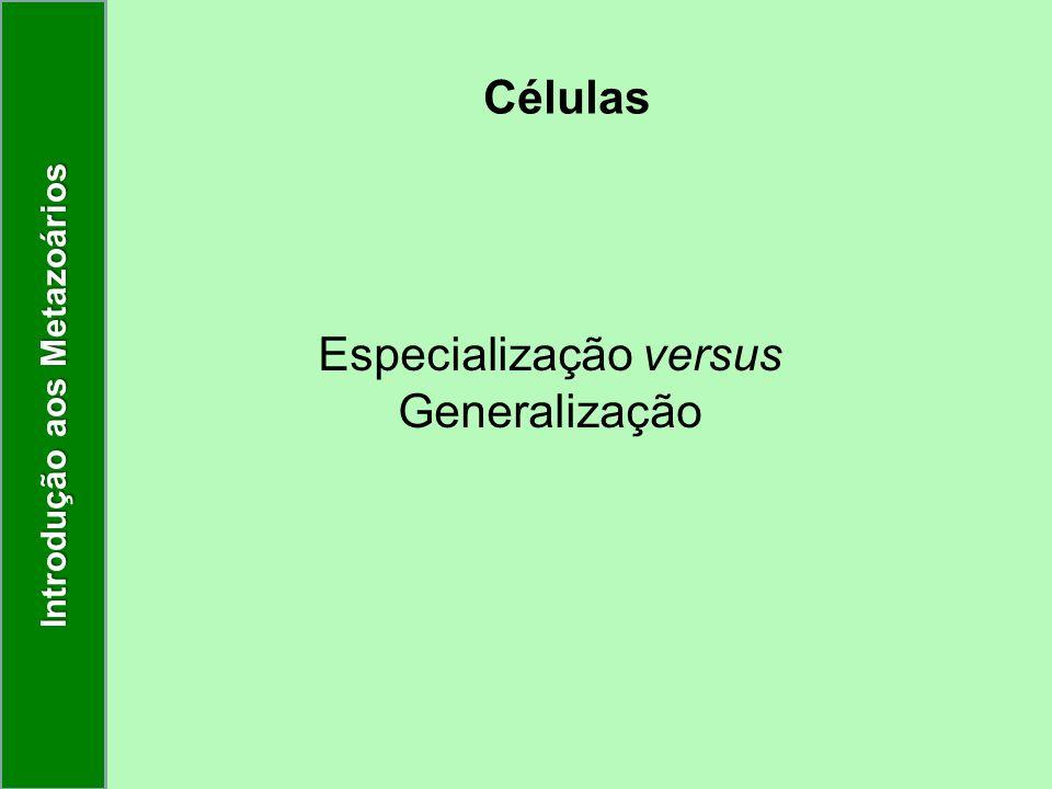 Células Especialização versus Generalização Introdução aos Metazoários