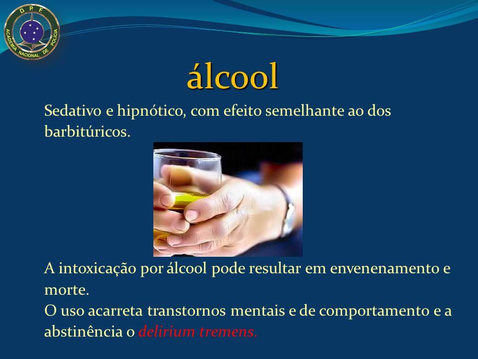 álcool Sedativo e hipnótico, com efeito semelhante ao dos barbitúricos. A intoxicação por álcool pode resultar em envenenamento e morte. O uso acarret