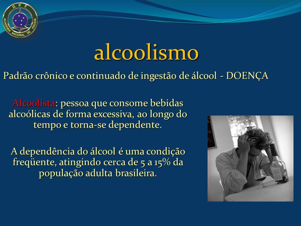 Alcoolista: pessoa que consome bebidas alcoólicas de forma excessiva, ao longo do tempo e torna-se dependente. A dependência do álcool é uma condição