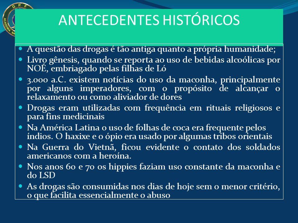 ANTECEDENTES HISTÓRICOS A questão das drogas é tão antiga quanto a própria humanidade; Livro gênesis, quando se reporta ao uso de bebidas alcoólicas p
