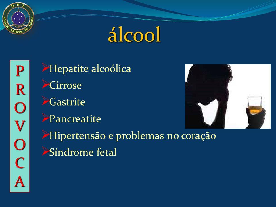Hepatite alcoólica Cirrose Gastrite Pancreatite Hipertensão e problemas no coração Síndrome fetal PROVOCAPROVOCAPROVOCAPROVOCA álcool