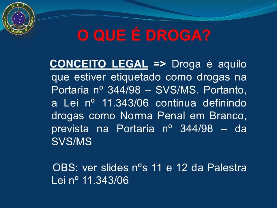O QUE É DROGA? CONCEITO LEGAL => Droga é aquilo que estiver etiquetado como drogas na Portaria nº 344/98 – SVS/MS. Portanto, a Lei nº 11.343/06 contin