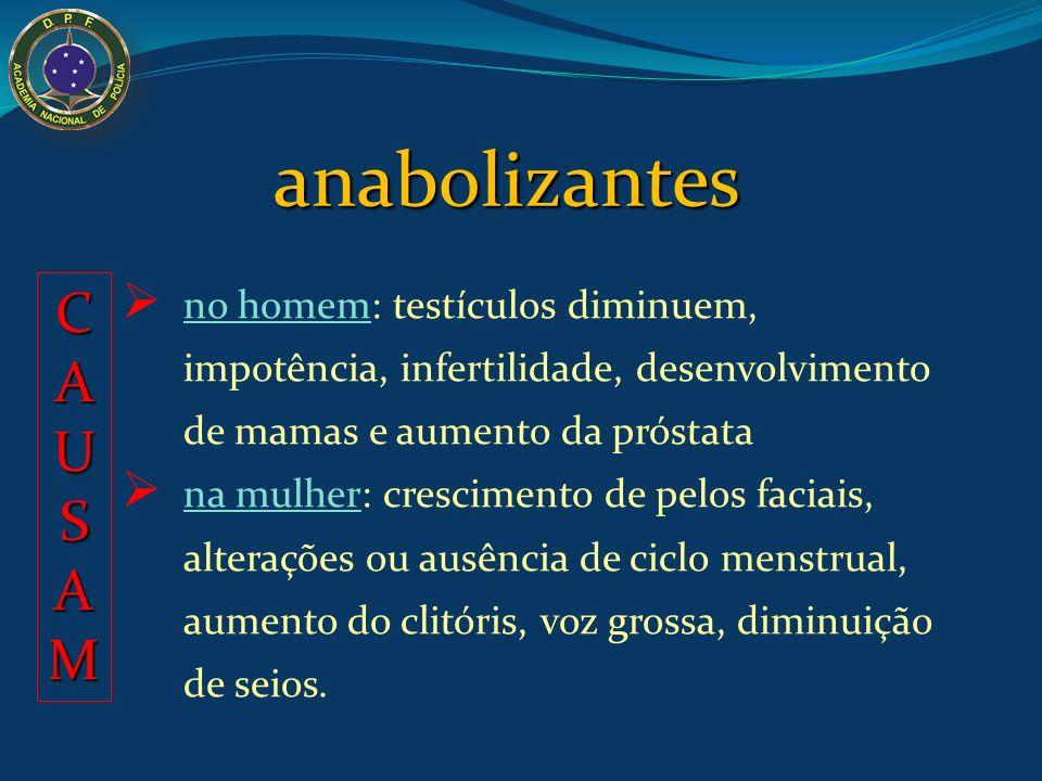 anabolizantes são de uso clínico comprimidos ou injeções androxon® durateston® decadurabolin® Reações comuns: tremores, acne severa, retenção de líqui