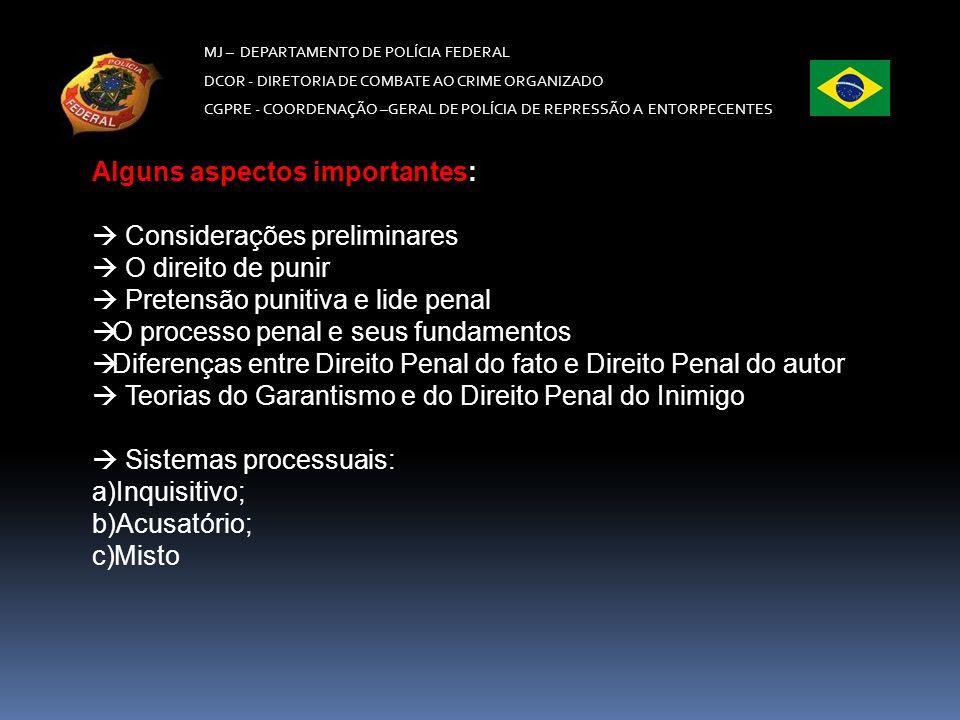 MJ – DEPARTAMENTO DE POLÍCIA FEDERAL DCOR - DIRETORIA DE COMBATE AO CRIME ORGANIZADO CGPRE - COORDENAÇÃO –GERAL DE POLÍCIA DE REPRESSÃO A ENTORPECENTES A persecução penal no Brasil (fase investigatória) – a)Inquérito policial; b)Termo circunstanciado; c)Outras formas de investigação criminal (investigação pelo MP, CPIs) A persecução penal no Brasil (ação penal): a)Ação penal pública incondicionada; b)Ação penal pública condicionada; c)Ação penal privada subsidiária da ação pública; d)Ação penal privada.