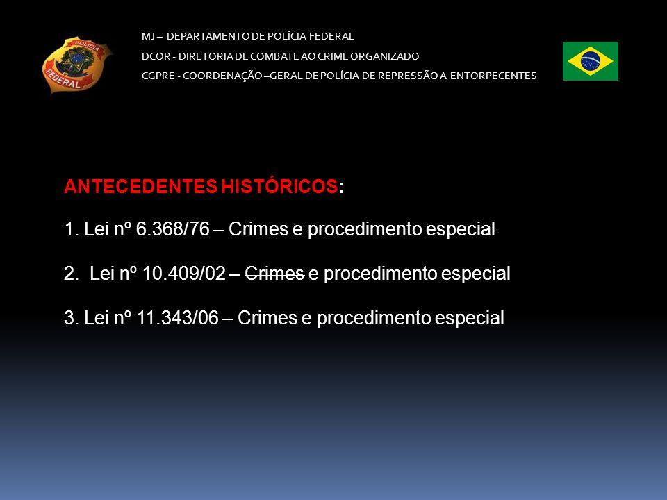 MJ – DEPARTAMENTO DE POLÍCIA FEDERAL DCOR - DIRETORIA DE COMBATE AO CRIME ORGANIZADO CGPRE -COORDENAÇÃO –GERAL DE POLÍCIA DE REPRESSÃO A ENTORPECENTES MAQUINÁRIO Art.