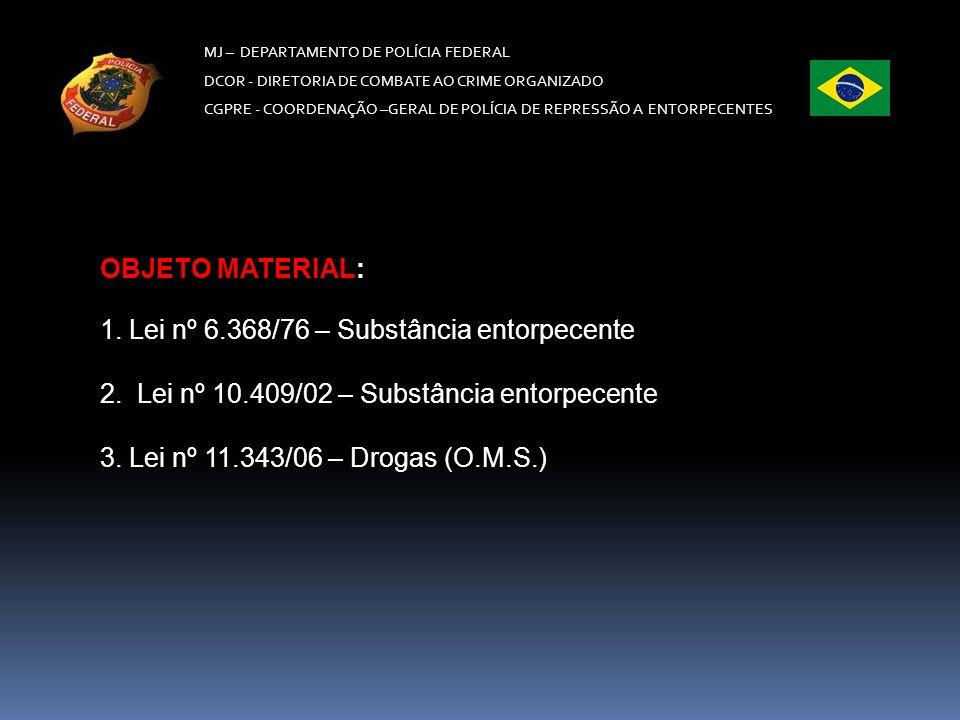 MJ – DEPARTAMENTO DE POLÍCIA FEDERAL DCOR - DIRETORIA DE COMBATE AO CRIME ORGANIZADO CGPRE -COORDENAÇÃO –GERAL DE POLÍCIA DE REPRESSÃO A ENTORPECENTES PROCEDIMENTO PENAL – art.