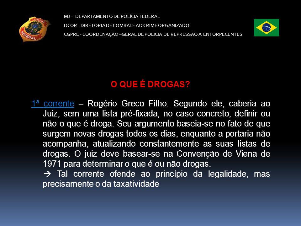 MJ – DEPARTAMENTO DE POLÍCIA FEDERAL DCOR - DIRETORIA DE COMBATE AO CRIME ORGANIZADO CGPRE - COORDENAÇÃO –GERAL DE POLÍCIA DE REPRESSÃO A ENTORPECENTES * Ex.