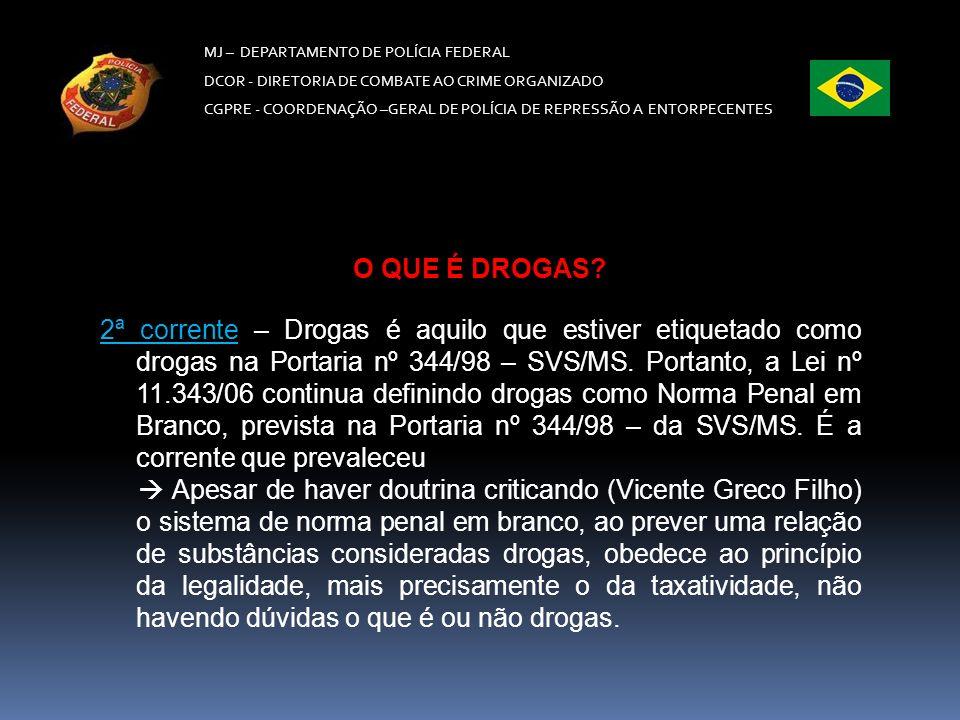 MJ – DEPARTAMENTO DE POLÍCIA FEDERAL DCOR - DIRETORIA DE COMBATE AO CRIME ORGANIZADO CGPRE -COORDENAÇÃO –GERAL DE POLÍCIA DE REPRESSÃO A ENTORPECENTES 1ª corrente – é crime.