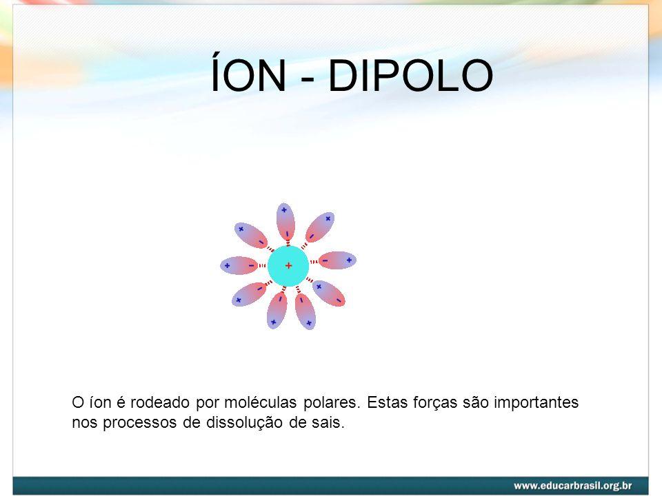 ÍON - DIPOLO O íon é rodeado por moléculas polares. Estas forças são importantes nos processos de dissolução de sais.