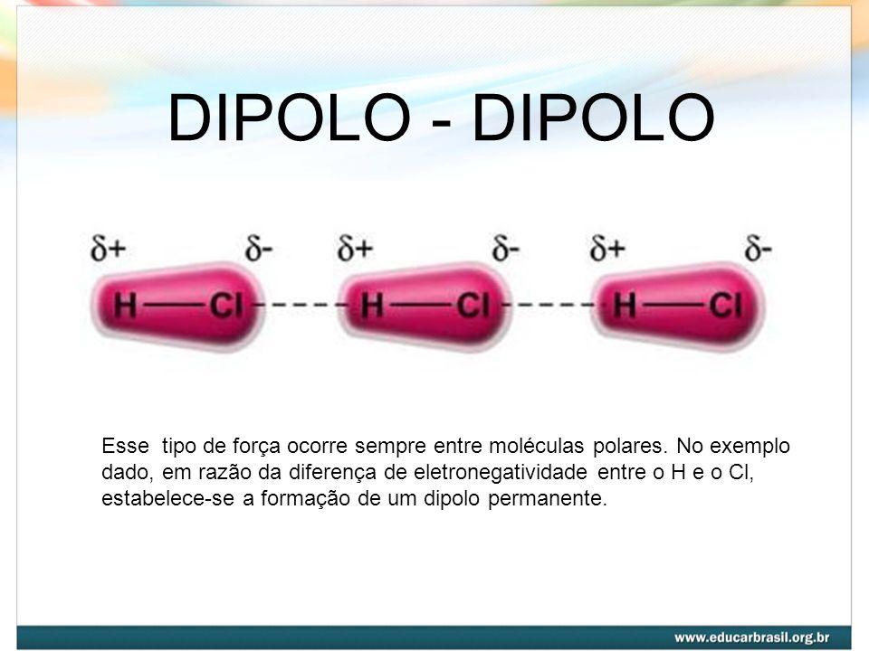 DIPOLO - DIPOLO Esse tipo de força ocorre sempre entre moléculas polares. No exemplo dado, em razão da diferença de eletronegatividade entre o H e o C