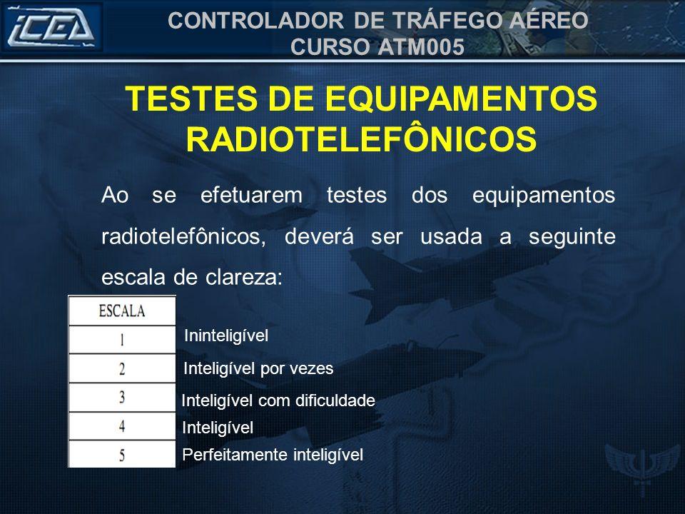 CONTROLADOR DE TRÁFEGO AÉREO CURSO ATM005 Ininteligível Inteligível por vezes Inteligível com dificuldade Inteligível Perfeitamente inteligível TESTES