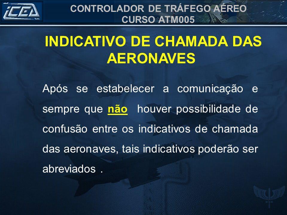 CONTROLADOR DE TRÁFEGO AÉREO CURSO ATM005 a) caracteres correspondentes à matrícula da aeronave; Ex: (PT AAP) - PAPA TANGO ALFA ALFA PAPA b) designador telefônico da empresa seguido dos três últimos caracteres da matrícula da aeronave; Ex.: (VRN VJR) - VARIG VICTOR JULIETT ROMEO c) designador telefônico da empresa seguido da identificação do voo; e Ex.: (TAM 3373)- TAM TRÊS TRÊS SETE TRÊS d) nome da Força Armada seguido do número da matrícula.