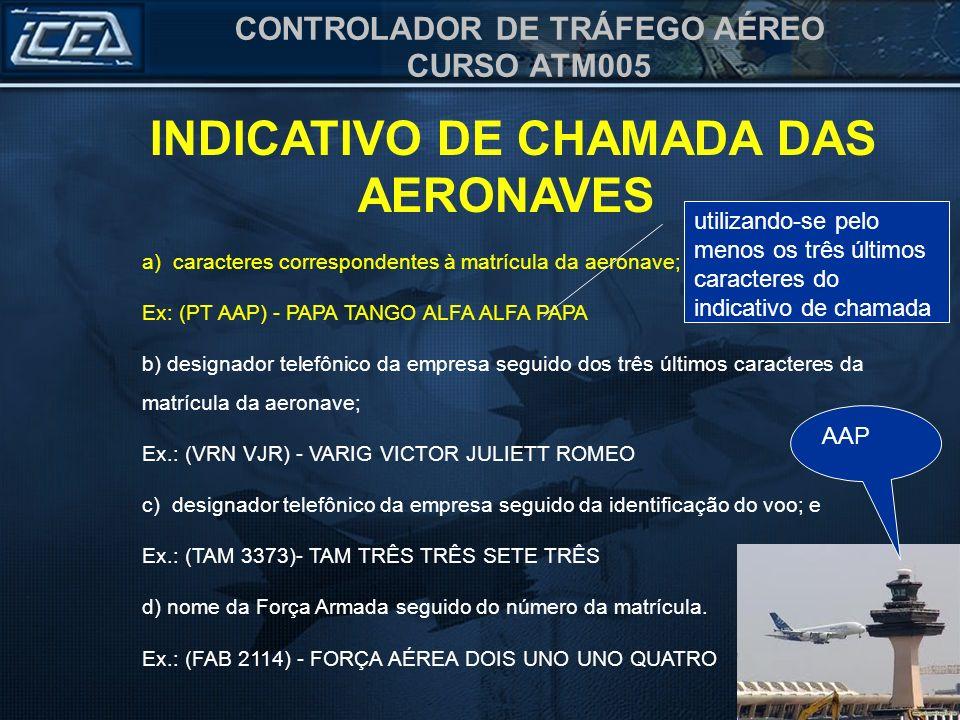 CONTROLADOR DE TRÁFEGO AÉREO CURSO ATM005 a) caracteres correspondentes à matrícula da aeronave; Ex: (PT AAP) - PAPA TANGO ALFA ALFA PAPA b) designado