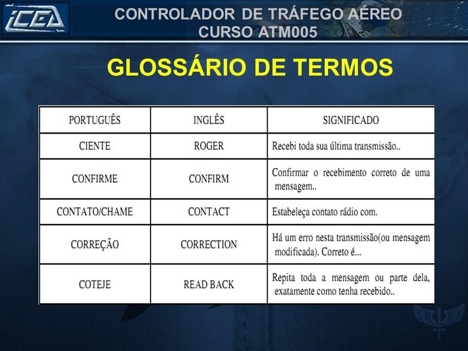 CONTROLADOR DE TRÁFEGO AÉREO CURSO ATM005 GLOSSÁRIO DE TERMOS I WILL COMPLY