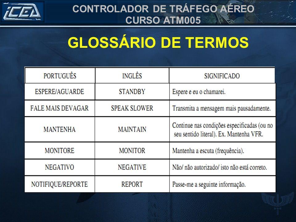 CONTROLADOR DE TRÁFEGO AÉREO CURSO ATM005 GLOSSÁRIO DE TERMOS