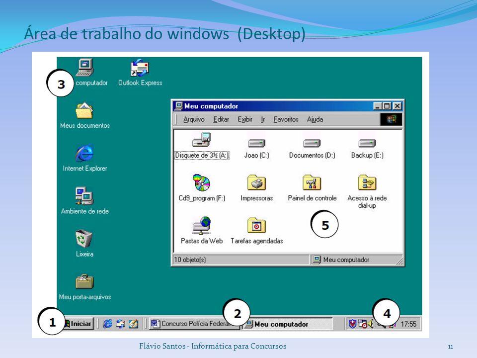 Flávio Santos - Informática para Concursos11 Área de trabalho do windows (Desktop)