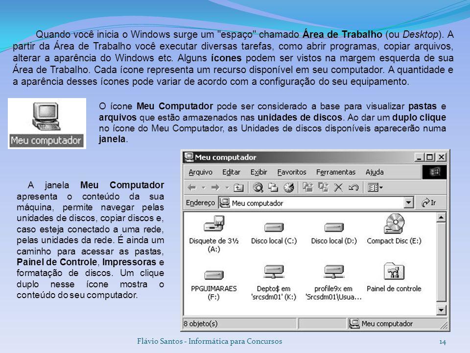 Flávio Santos - Informática para Concursos14 O ícone Meu Computador pode ser considerado a base para visualizar pastas e arquivos que estão armazenado