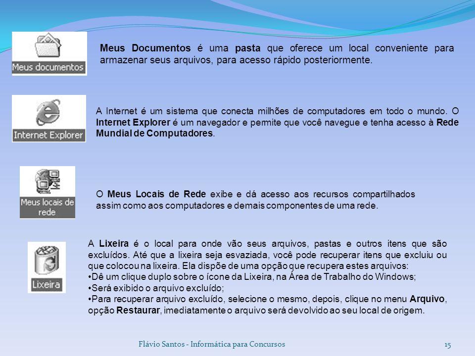 Flávio Santos - Informática para Concursos15 Meus Documentos é uma pasta que oferece um local conveniente para armazenar seus arquivos, para acesso rá