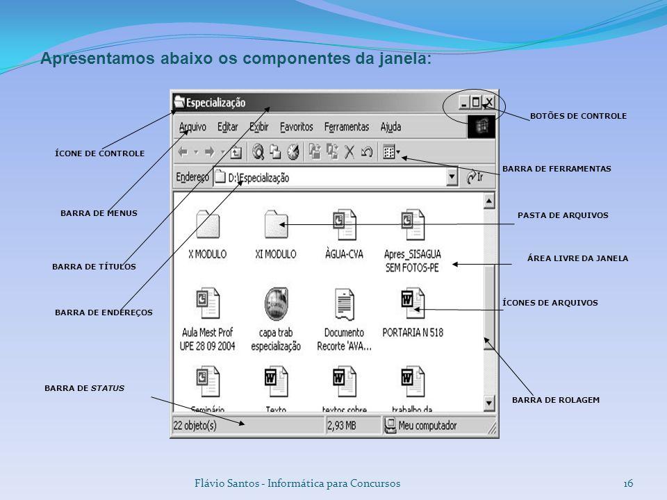Flávio Santos - Informática para Concursos16 Apresentamos abaixo os componentes da janela: BARRA DE TÍTULOS BARRA DE MENUS ÁREA LIVRE DA JANELA BARRA