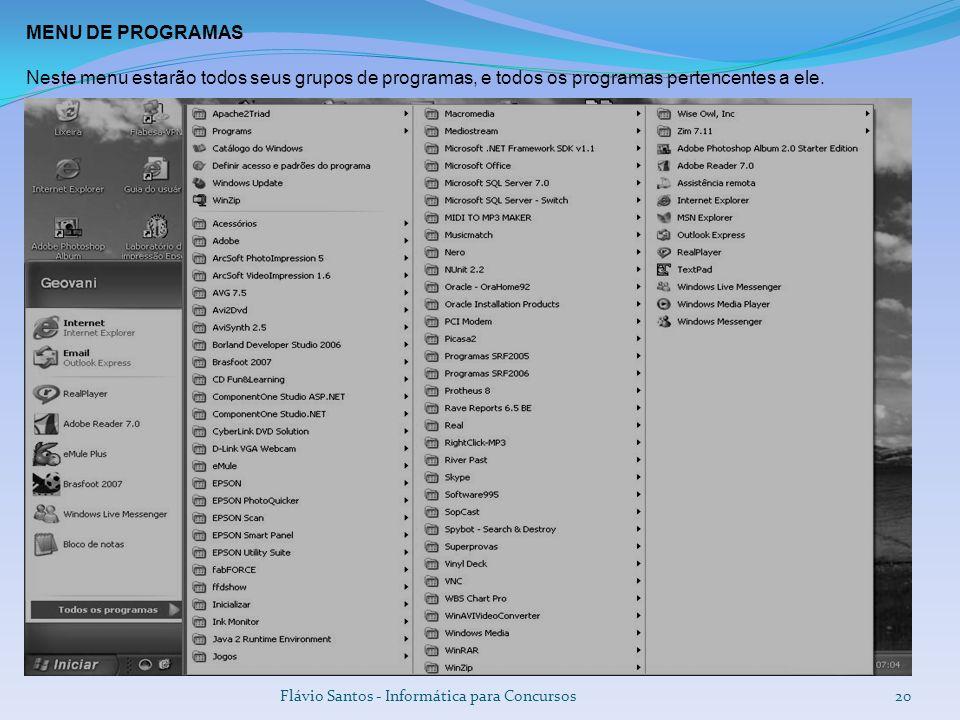 Flávio Santos - Informática para Concursos20 MENU DE PROGRAMAS Neste menu estarão todos seus grupos de programas, e todos os programas pertencentes a