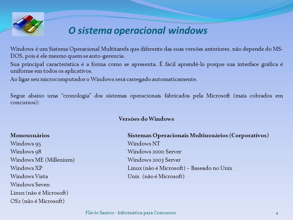 O sistema operacional windows Windows é um Sistema Operacional Multitarefa que diferente das suas versões anteriores, não depende do MS- DOS, pois é e