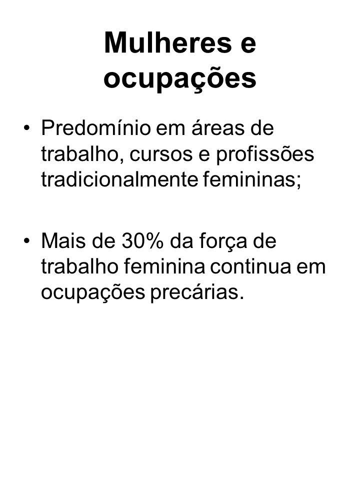 Mulheres e ocupações Predomínio em áreas de trabalho, cursos e profissões tradicionalmente femininas; Mais de 30% da força de trabalho feminina contin