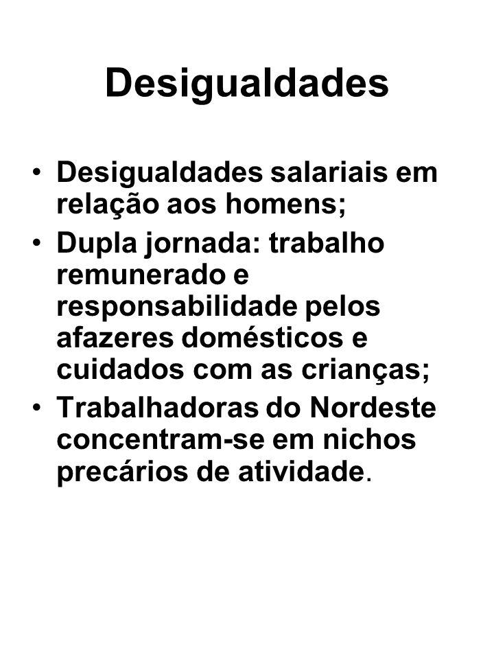 Desigualdades Desigualdades salariais em relação aos homens; Dupla jornada: trabalho remunerado e responsabilidade pelos afazeres domésticos e cuidado