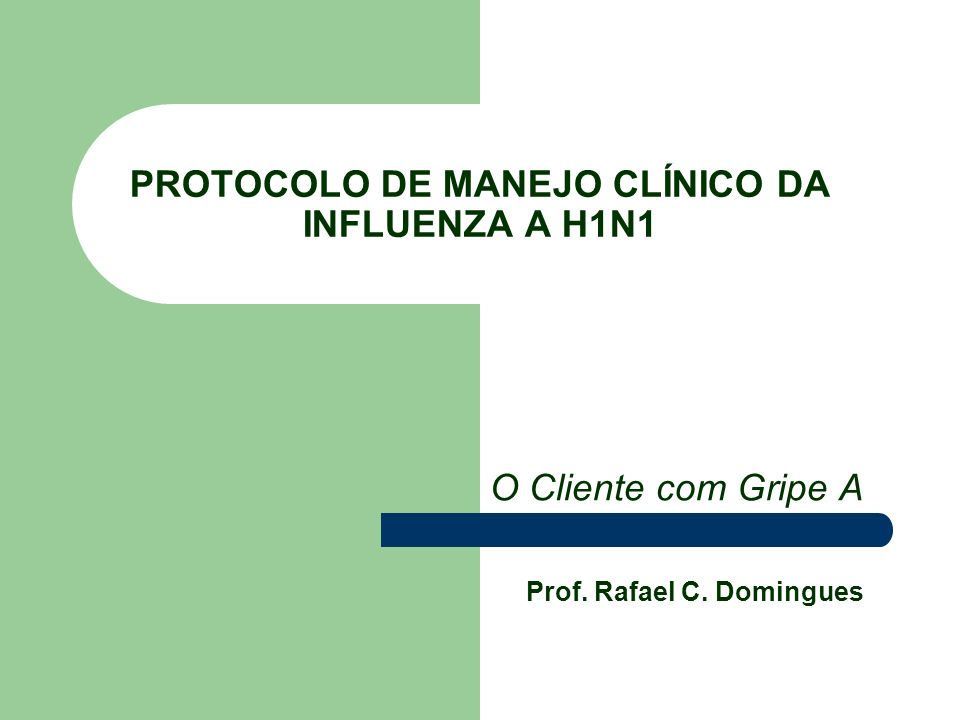 PROTOCOLO DE MANEJO CLÍNICO DA INFLUENZA A H1N1 O Cliente com Gripe A Prof. Rafael C. Domingues