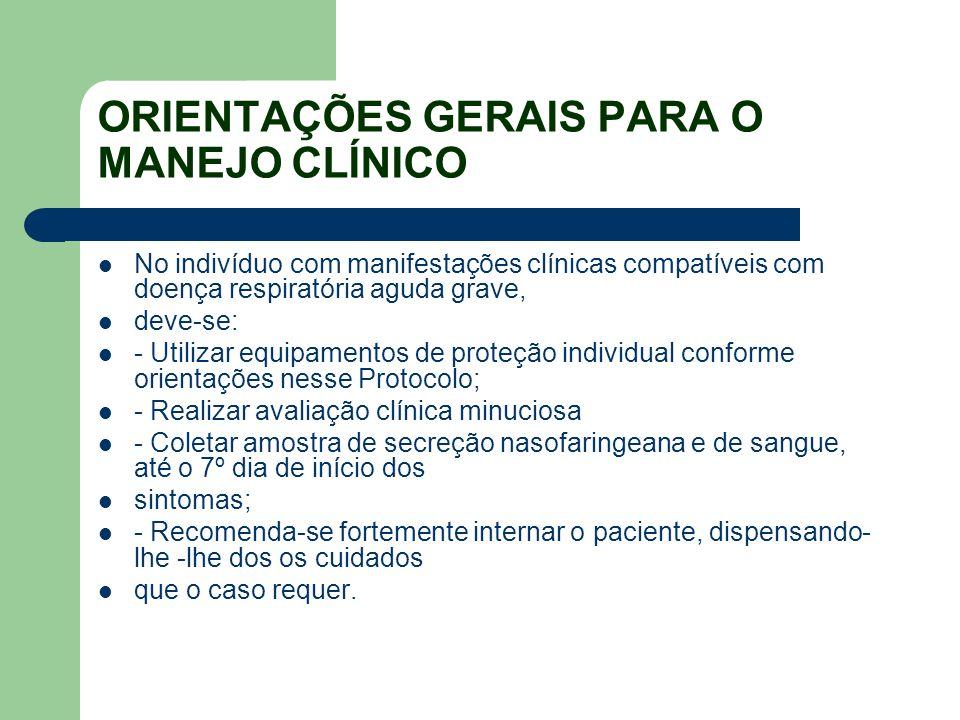 ORIENTAÇÕES GERAIS PARA O MANEJO CLÍNICO No indivíduo com manifestações clínicas compatíveis com doença respiratória aguda grave, deve-se: - Utilizar