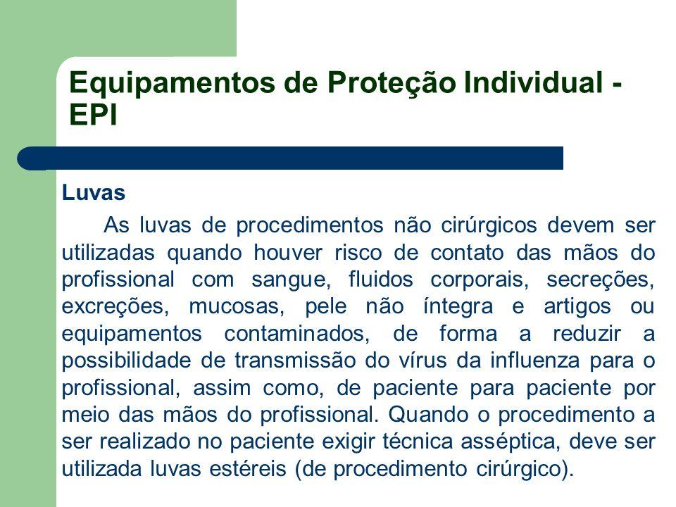 Equipamentos de Proteção Individual - EPI Luvas As luvas de procedimentos não cirúrgicos devem ser utilizadas quando houver risco de contato das mãos