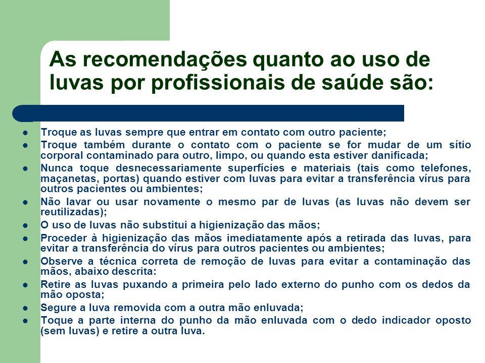As recomendações quanto ao uso de luvas por profissionais de saúde são: Troque as luvas sempre que entrar em contato com outro paciente; Troque também