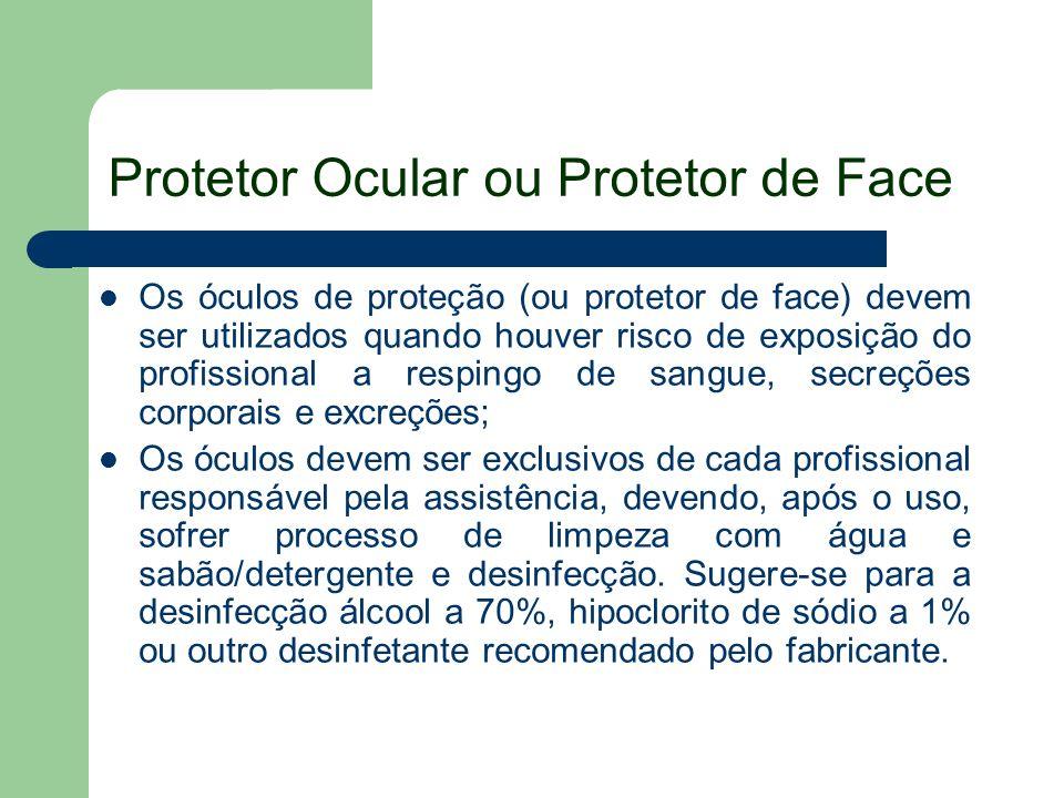 Protetor Ocular ou Protetor de Face Os óculos de proteção (ou protetor de face) devem ser utilizados quando houver risco de exposição do profissional
