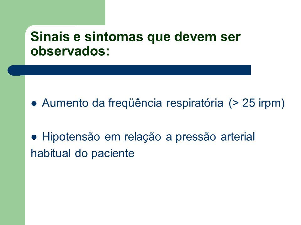 Sinais e sintomas que devem ser observados: Aumento da freqüência respiratória (> 25 irpm) Hipotensão em relação a pressão arterial habitual do pacien