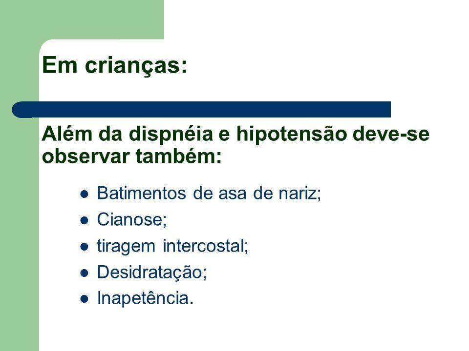 Em crianças: Além da dispnéia e hipotensão deve-se observar também: Batimentos de asa de nariz; Cianose; tiragem intercostal; Desidratação; Inapetênci