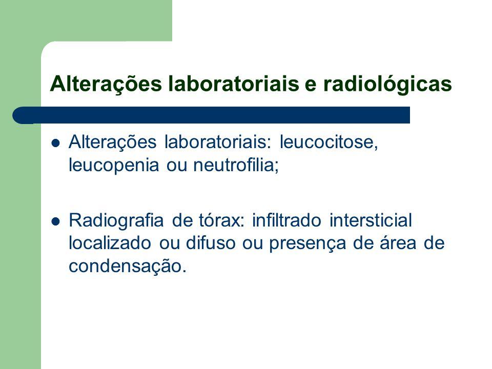 Alterações laboratoriais e radiológicas Alterações laboratoriais: leucocitose, leucopenia ou neutrofilia; Radiografia de tórax: infiltrado intersticia