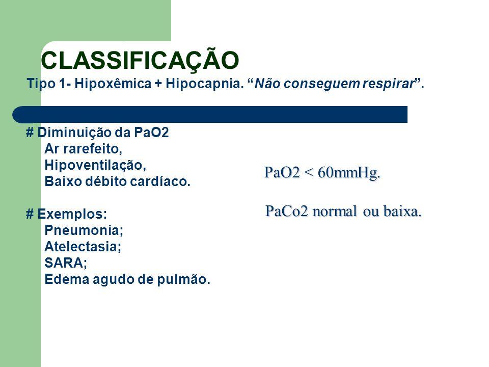 CLASSIFICAÇÃO Tipo 1- Hipoxêmica + Hipocapnia. Não conseguem respirar. # Diminuição da PaO2 Ar rarefeito, Hipoventilação, Baixo débito cardíaco. # Exe